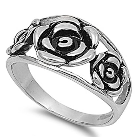 3 Roses Stainless Steel Ring Size 5-10