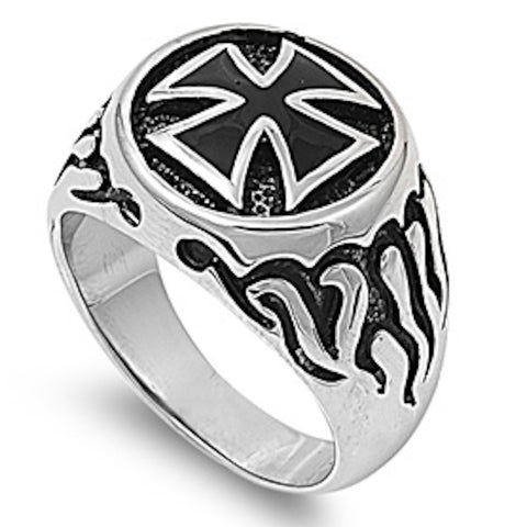 Flaming Royal Design Stainless Steel Ring Size 7-17