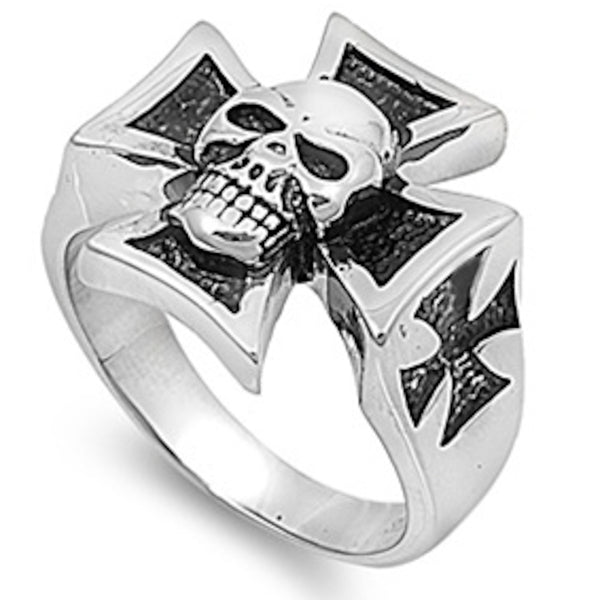 Skull on Royal Sign Stainless Steel Ring Size 6-17