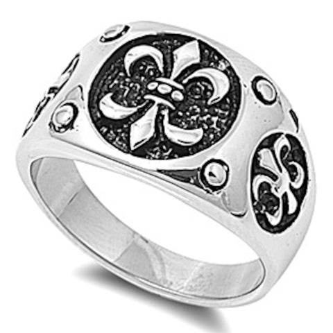 Men's 3 Engraved Royal Sign Stainless Steel Ring Size 8-15