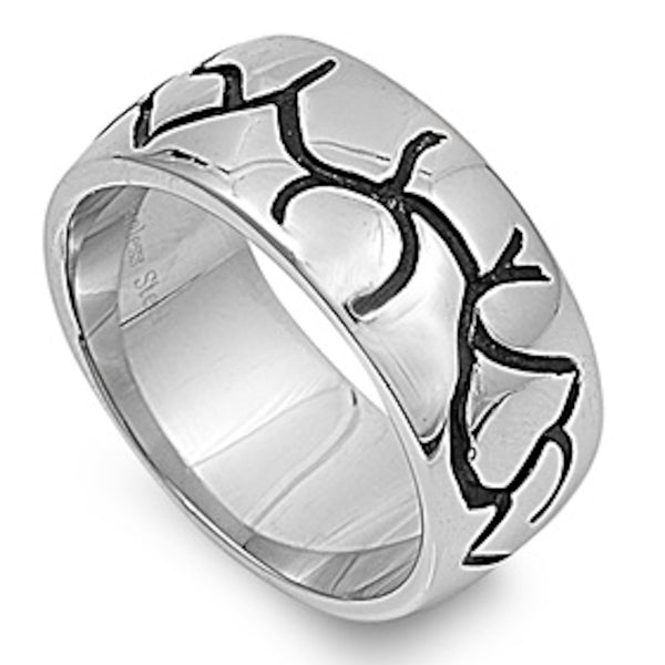 Crack Design Stainless Steel Ring Size 8-13