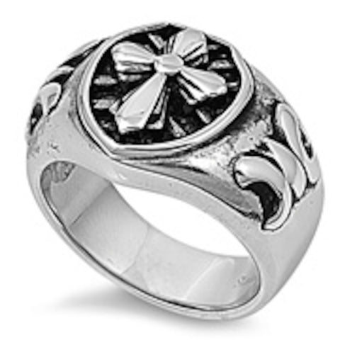 Heavy Cross and Royal Sign Stainless Steel Ring Size 8-14