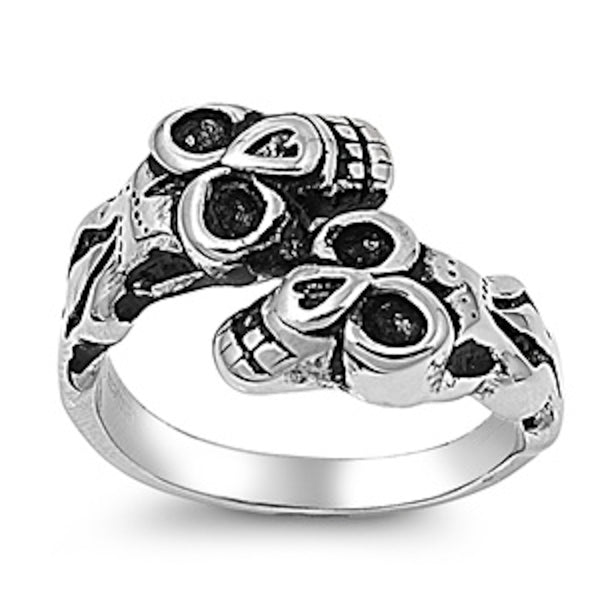 Twin Monkey Skull Stainless Steel Ring Size 8-13