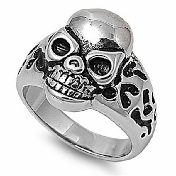 Grinning Skull Stainless Steel Ring Size 8-13