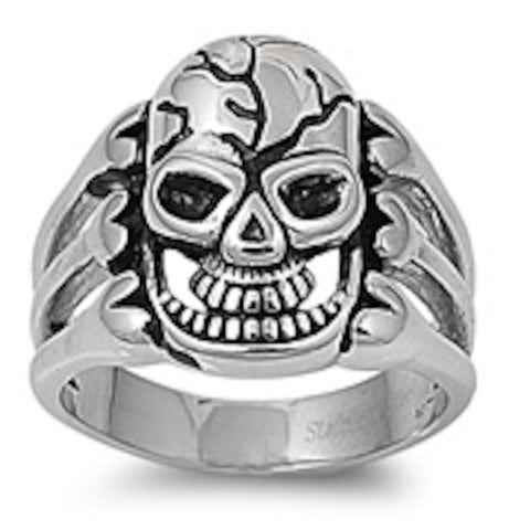 Skull With Veins Stainless Steel Ring Size 9-14