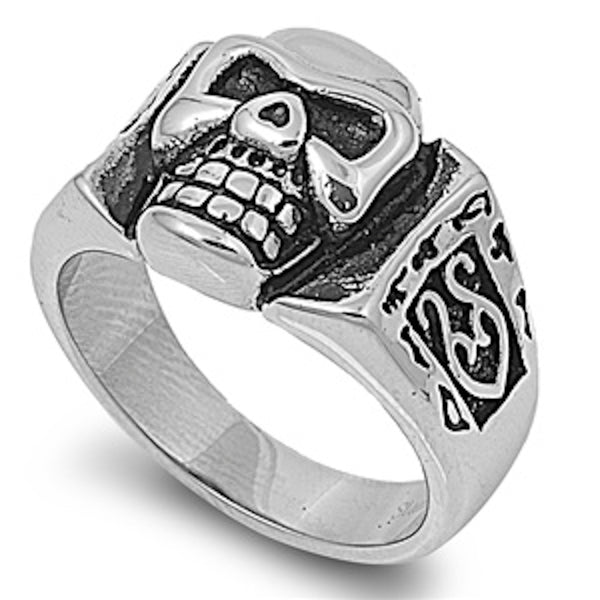 Heavy Mad Skull Stainless Steel Ring Size 6-15