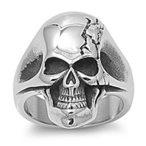 Solid Skull For Tough Men Stainless Steel Ring Size 8-15