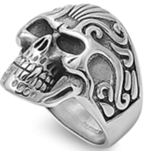 Solid Steel Skull 316L Stainless Steel Ring Sizes 6-18
