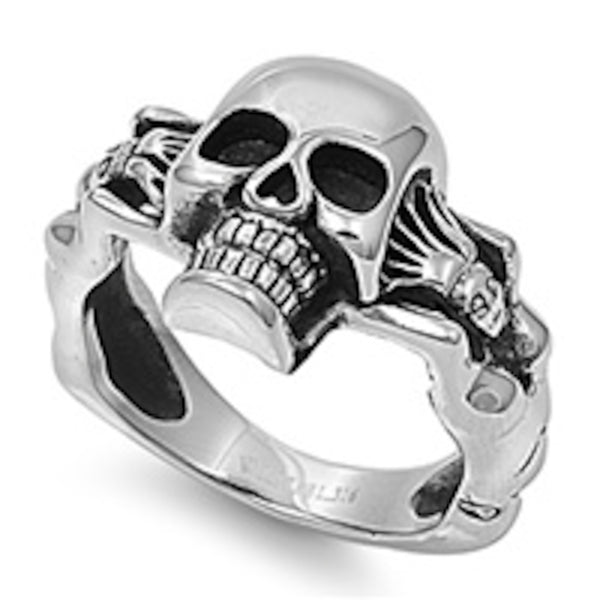 Skull With Female Body Stainless Steel Ring Size 9-14