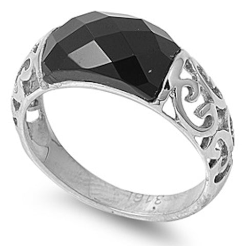 Huge Black Onyx Stainless Steel Ring Size 6-10