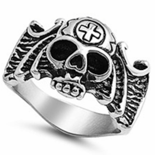 Stainless Steel Heavy Solid Skull Ring