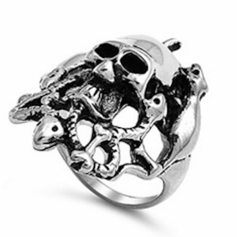 Skull And Snakes Stainless Steel Ring Size 9-14