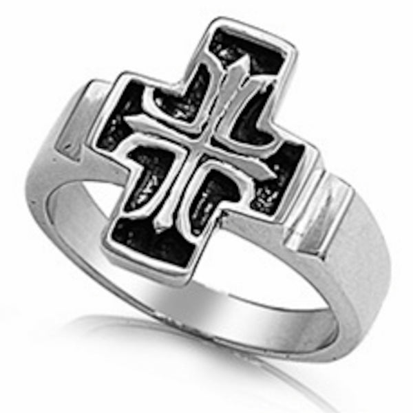 Beautiful Heavy Cross Stainless Steel Ring Size 8-13