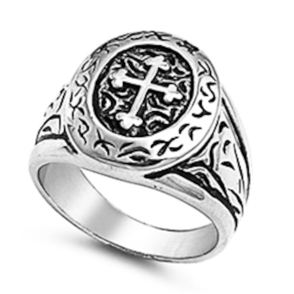 Stainless Steel Fancy Cross Signet Ring