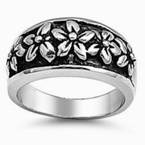 Beautiful Plumeria Stainless Steel Ring Size 6-10