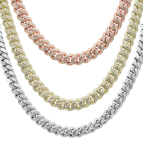 Hip Hop Bling Iced 12MM Cuban Link  .925 Sterling Silver Chain 26