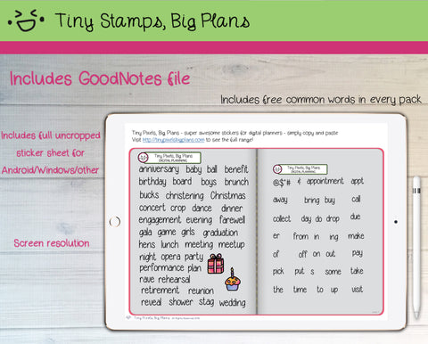 Digital Stickers - Digital Goodnotes pack - Occasion icons and words - Tiny Pixels, Big Plans