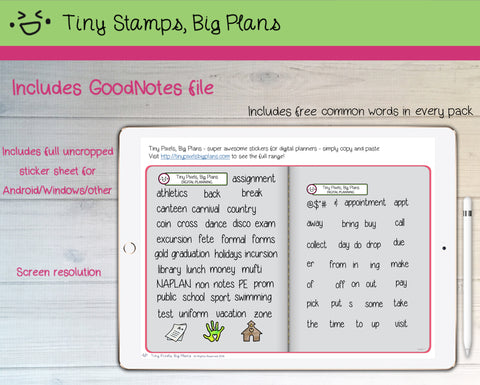 Digital Stickers - Digital Goodnotes pack - School Activity icons and words - Tiny Stamps Big Plans