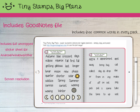 Digital Stickers - Digital Goodnotes pack - Moons & Seasons icons and words - Tiny Stamps Big Plans