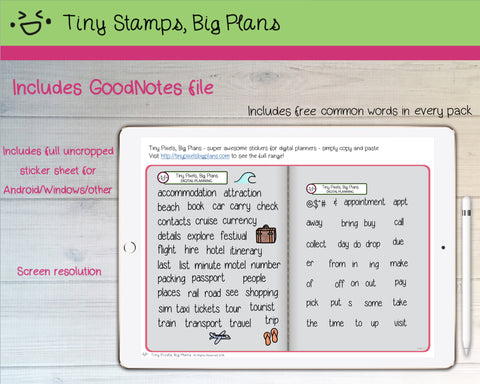 Digital Stickers - Digital Goodnotes pack - Travel icons and words - Tiny Stamps Big Plans