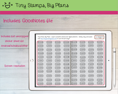 Digital Stickers - Digital Goodnotes pack - Appointment Times planner stickers - Tiny Pixels, Big Plans