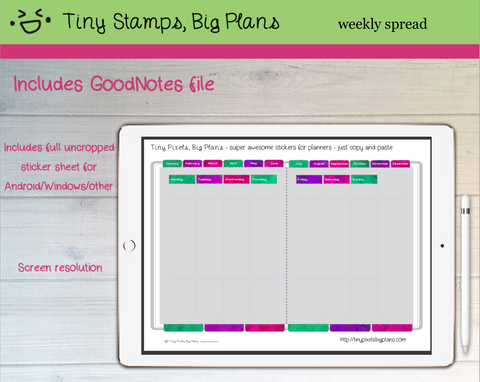 Digital Stickers - Digital Goodnotes pack - Planner fancy dress stickers - mermaid tones - Tiny Pixels, Big Plans
