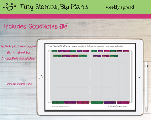 Digital Stickers - Digital Goodnotes pack - Planner fancy dress stickers - jewel tones - Tiny Pixels, Big Plans