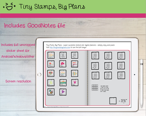 Digital Stickers - Digital Goodnotes pack - Instagram planner stickers - Tiny Pixels, Big Plans