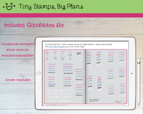 Digital Stickers - Digital Goodnotes pack - Stamped reminder planner stickers - Tiny Pixels, Big Plans