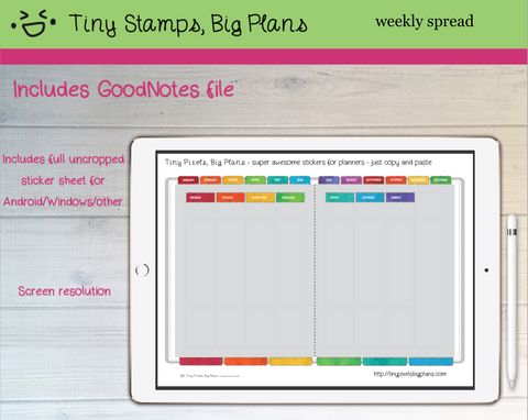 Digital Stickers - Digital Goodnotes pack - Planner fancy dress stickers - rainbow watercolour - Tiny Pixels, Big Plans