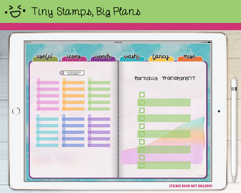 Digital stickers - pastel transparent checklists