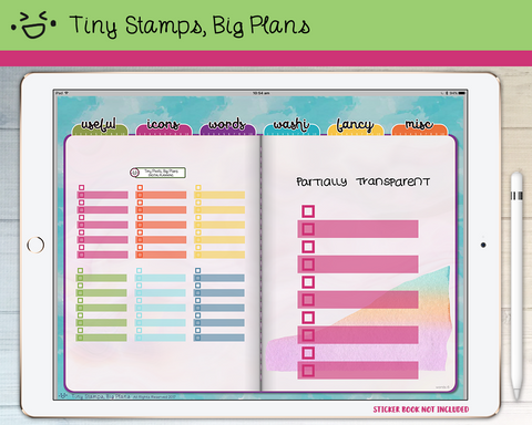 Digital stickers - rainbow transparent checklists