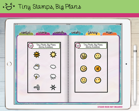 Digital Stickers - Digital icon stickers - weather and emoji - Tiny Stamps Big Plans