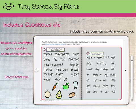 Digital Stickers - Digital Goodnotes pack - Healthy eating icons and words - Tiny Stamps Big Plans