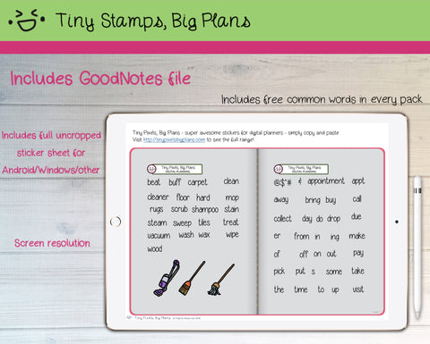 Digital Stickers - Digital Goodnotes pack - Floor cleaning icons and words - Tiny Stamps Big Plans