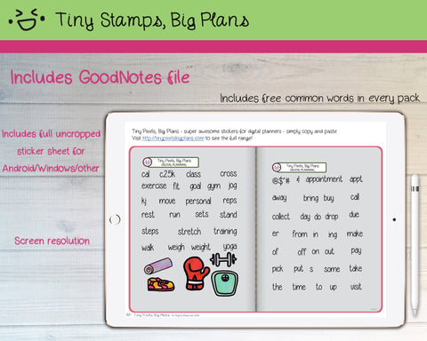 Digital Stickers - Digital Goodnotes pack - Fitness icons and words - Tiny Stamps Big Plans