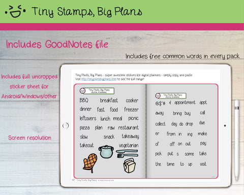Digital Stickers - Digital Goodnotes pack - Meal planning icons and words - Tiny Stamps Big Plans
