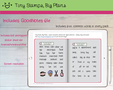 Digital Stickers - Digital Goodnotes pack - Beauty icons and words - Tiny Stamps Big Plans