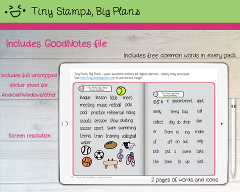 Digital Stickers - Digital Goodnotes pack - Sport & activity icons and words - Tiny Stamps Big Plans
