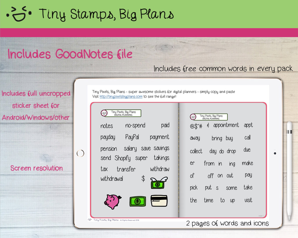 Digital Stickers   Digital Goodnotes Pack   Finance Icons And Words   Tiny  Stamps Big Plans