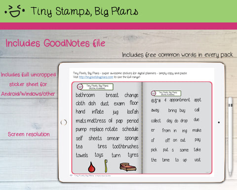 Digital Stickers - Digital Goodnotes pack - Household icons and words - Tiny Pixels, Big Plans