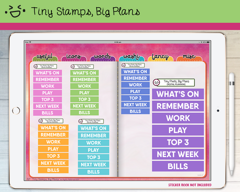 Digital Stickers - Digital stickers - pastel chunky headers (1) - Tiny Stamps Big Plans