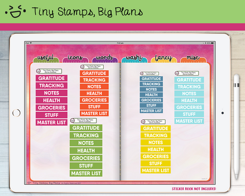 Digital Stickers - Digital stickers - rainbow chunky headers (4) - Tiny Stamps Big Plans