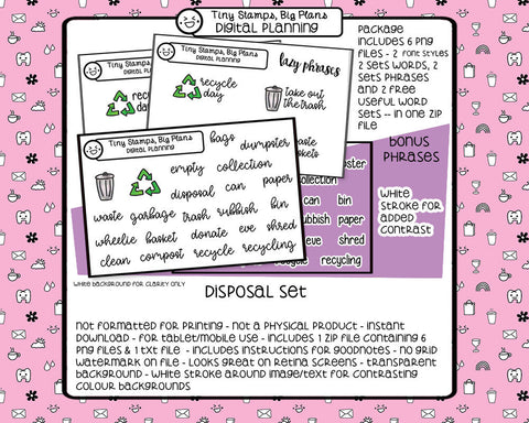 Digital stickers - Disposal icons and words