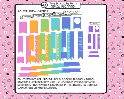 Digital Stickers - Digital stickers - pastel basic shapes - Tiny Stamps Big Plans