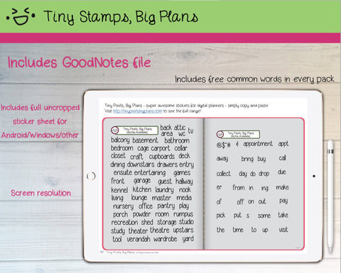 Digital Stickers - Digital Goodnotes pack - Room words - Tiny Pixels, Big Plans