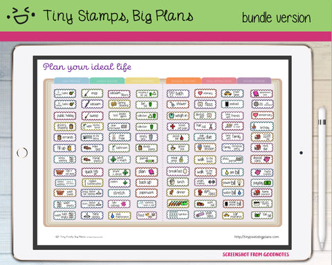 Digital Stickers - Plan Your Ideal Life bundle - Tiny Pixels, Big Plans