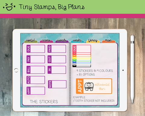 Digital stickers - rainbow boxes with payment words