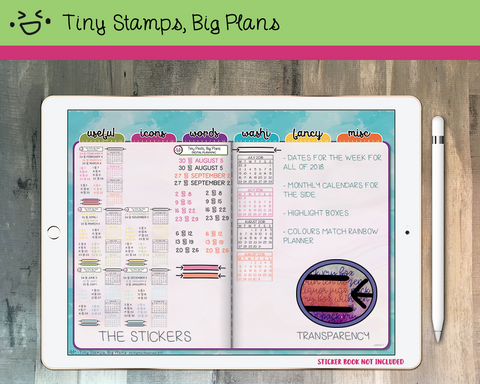 Digital Stickers - Digital stickers - 2018 calendar set - rainbow and black - Tiny Stamps Big Plans