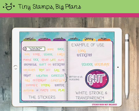 Digital stickers - life-work-movements word stickers - pastel